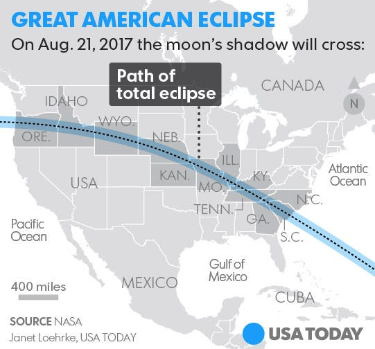 Solar Eclipse Map Where To See The Total Eclipse - Washington state falling off the us map