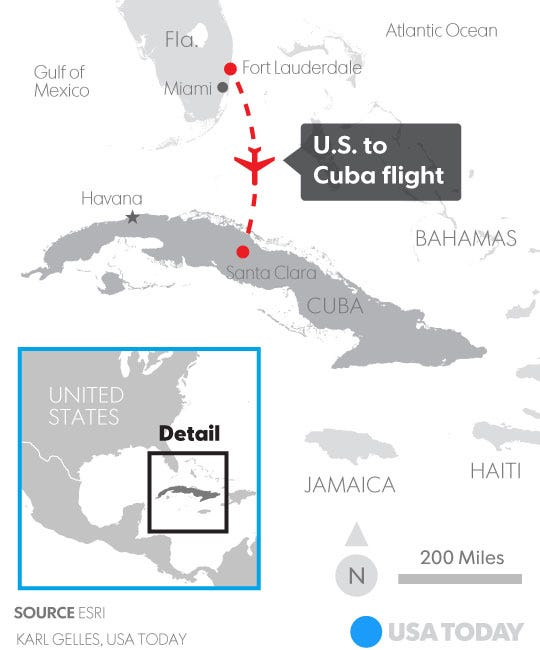 First US Commercial Flight In Decades Lands In Cuba - Map of flights between us and mexico