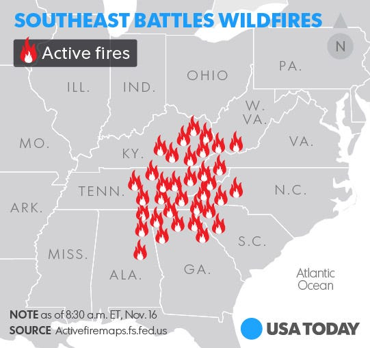 West Coast Crews Mobilize To Battle Southeast Fires - Map of fires in southeast us