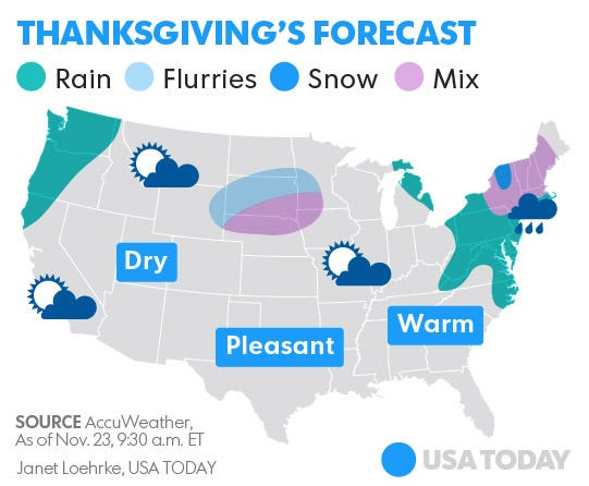 Your Thanksgiving Day travel weather forecast: Wet Northeast