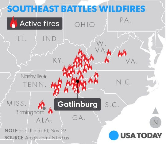 Tennessee wildfires threaten resort towns of Gatlinburg, Pigeon Forge
