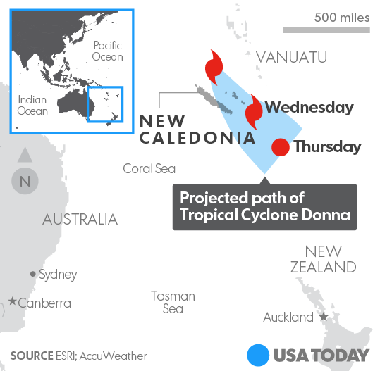 Tropical Cyclone Donna Is Heading For New Caledonia In The South