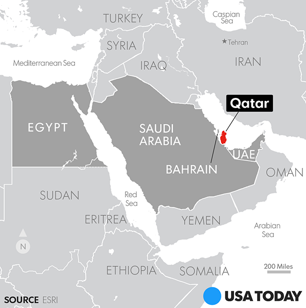 Bahrain Egypt Saudi Arabia UAE Cut Ties To Qatar - Map of qatar and egypt