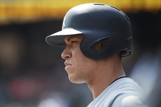 Aug 24, 2017; Detroit, MI, USA; New York Yankees right fielder Aaron Judge (99) waits to bat in the first inning against the Detroit Tigers at Comerica Park. Mandatory Credit: Rick Osentoski-USA TODAY Sports