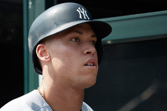 Aug 24, 2017; Detroit, MI, USA; New York Yankees right fielder Aaron Judge (99) in the dugout prior to the game against the Detroit Tigers at Comerica Park. Mandatory Credit: Rick Osentoski-USA TODAY Sports