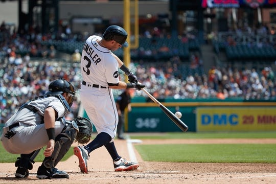 Aug 24, 2017; Detroit, MI, USA; Detroit Tigers second baseman Ian Kinsler (3) at bat in the first inning against the New York Yankees at Comerica Park. Mandatory Credit: Rick Osentoski-USA TODAY Sports