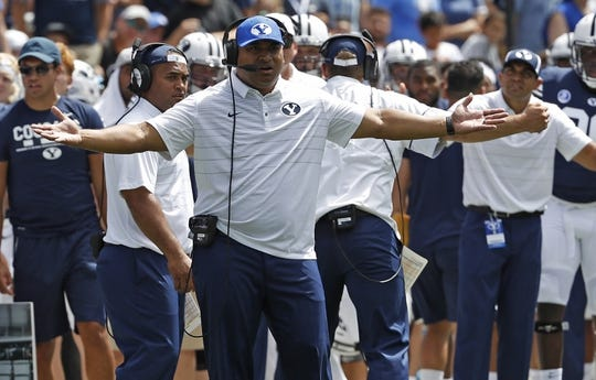 Aug 26, 2017; Provo, UT, USA; Brigham Young Cougars head coach Kalani Sitake reacts during the second quarter against the Portland State Vikings at LaVell Edwards Stadium. Mandatory Credit: Jeff Swinger-USA TODAY Sports
