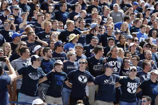 Aug 26, 2017; Provo, UT, USA; Brigham Young Cougars fans show their support prior to their game against the Portland State Vikings at LaVell Edwards Stadium. Mandatory Credit: Jeff Swinger-USA TODAY Sports