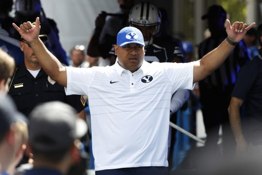 Aug 26, 2017; Provo, UT, USA; Brigham Young Cougars head coach Kalani Sitake enters the field prior to their game against the Portland State Vikings at LaVell Edwards Stadium. Mandatory Credit: Jeff Swinger-USA TODAY Sports