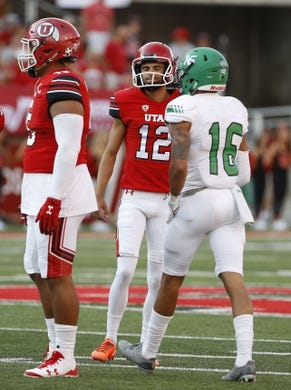 Aug 31, 2017; Salt Lake City, UT, USA; Utah Utes place kicker Chayden Johnston (12) reacts after missing a field goal in the quarter against the North Dakota Fighting Hawks at Rice-Eccles Stadium. Mandatory Credit: Jeff Swinger-USA TODAY Sports