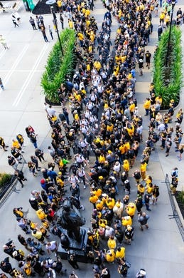 Sep 2, 2017; Iowa City, IA, USA; Fans greet the Iowa Hawkeyes as they arrive before the game against the Wyoming Cowboys at Kinnick Stadium. Mandatory Credit: Jeffrey Becker-USA TODAY Sports