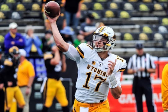 Sep 2, 2017; Iowa City, IA, USA; Wyoming Cowboys quarterback Josh Allen (17) warms up before the game against the Iowa Hawkeyes at Kinnick Stadium. Mandatory Credit: Jeffrey Becker-USA TODAY Sports