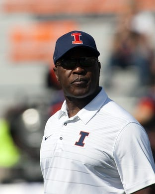 Sep 2, 2017; Champaign, IL, USA; Illinois Fighting Illini head coach Lovie Smith observes his team during pregame warmups against the Ball State Cardinals at Memorial Stadium. Mandatory Credit: Mike Granse-USA TODAY Sports