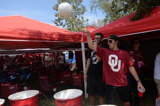 Sep 2, 2017; Norman, OK, USA; Keaton Hargett of Fort Worth, Texas tailgates prior to action between the UTEP Miners and the Oklahoma Sooners at Gaylord Family - Oklahoma Memorial Stadium. Mandatory Credit: Mark D. Smith-USA TODAY Sports