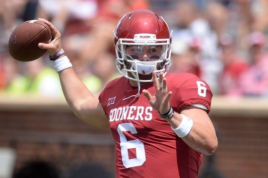 Sep 2, 2017; Norman, OK, USA; Oklahoma Sooners quarterback Baker Mayfield (6) warms up prior to action against the UTEP Miners at Gaylord Family - Oklahoma Memorial Stadium. Mandatory Credit: Mark D. Smith-USA TODAY Sports