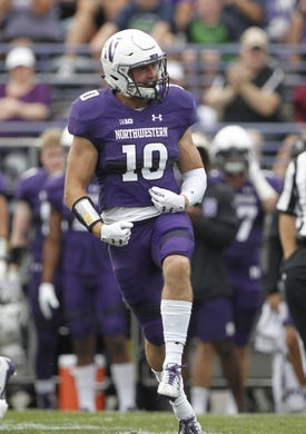 Sep 2, 2017; Evanston, IL, USA; Northwestern Wildcats linebacker Brett Walsh (10) reacts after a tackle during the first quart against the Nevada Wolf Pack at Ryan Field. Mandatory Credit: Caylor Arnold-USA TODAY Spor