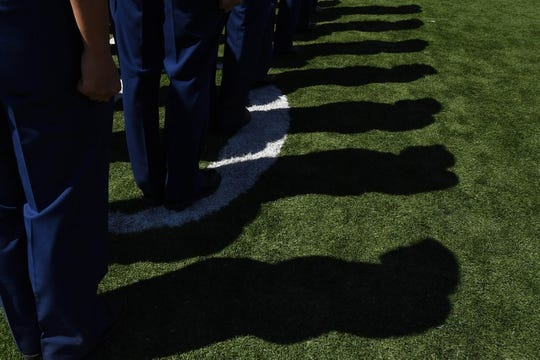 Sep 2, 2017; Colorado Springs, CO, USA; General view of Air Force Falcons cadets standing at attention on to Falcon Field before the game against the Virginia Military Keydets at Falcon Stadium. Mandatory Credit: Ron Chenoy-USA TODAY Sports