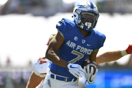 Sep 2, 2017; Colorado Springs, CO, USA; Air Force Falcons wide receiver Geraud Sanders (7) carries the ball after a reception in the first quarter against the Virginia Military Keydets at Falcon Stadium. Mandatory Credit: Ron Chenoy-USA TODAY Sports