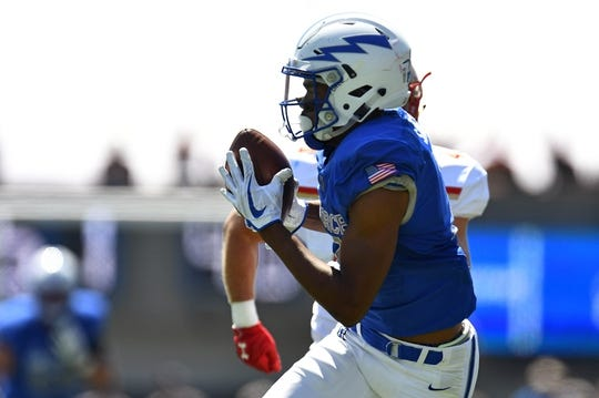 Sep 2, 2017; Colorado Springs, CO, USA; Air Force Falcons wide receiver Geraud Sanders (7) pulls in a reception in the first quarter against the Virginia Military Keydets at Falcon Stadium. Mandatory Credit: Ron Chenoy-USA TODAY Sports