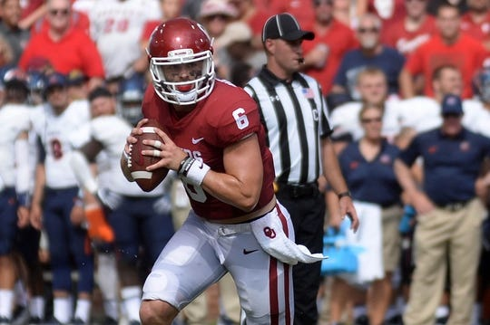 Sep 2, 2017; Norman, OK, USA; Oklahoma Sooners quarterback Baker Mayfield (6) looks to pass the ball against the UTEP Miners during the second quarter at Gaylord Family - Oklahoma Memorial Stadium. Mandatory Credit: Mark D. Smith-USA TODAY Sports