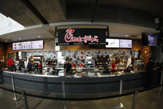 Sep 2, 2017; Atlanta, GA, USA;  A general view of the Chick-fil-a concession at Mercedes-Benz Stadium to the start of the 2017 Kickoff Game between the Alabama Crimson Tide and Florida State Seminoles.  Mandatory Credit: Brett Davis-USA TODAY Sports