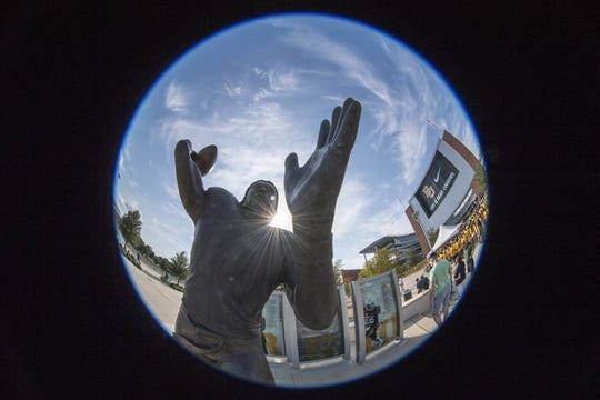 Sep 2, 2017; Waco, TX, USA; A general view of the statue of former Baylor quarterback Robert Griffin III before the game between the Baylor Bears and the Liberty Flames at McLane Stadium. Mandatory Credit: Jerome Miron-USA TODAY Sports