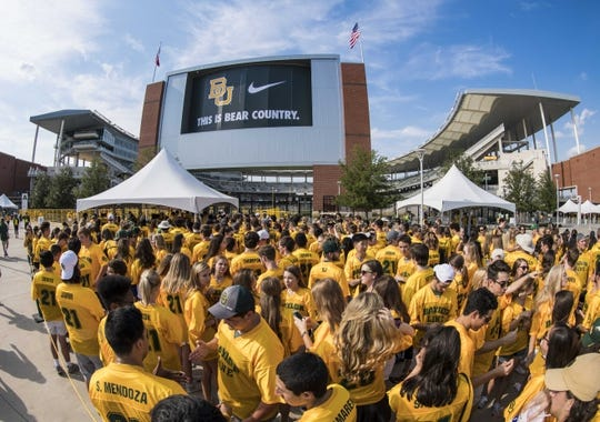 Sep 2, 2017; Waco, TX, USA; A general view of students and fans waiting to enter McLane Stadium before the game between the Baylor Bears and the Liberty Flames. Mandatory Credit: Jerome Miron-USA TODAY Sports