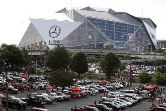 Sep 2, 2017; Atlanta, GA, USA;  A general view of tailgating at Mercedes-Benz Stadium prior to the 2017 Kickoff Game between the Alabama Crimson Tide and the \Florida State Seminoles. Mandatory Credit: Jason Getz-USA TODAY Sports
