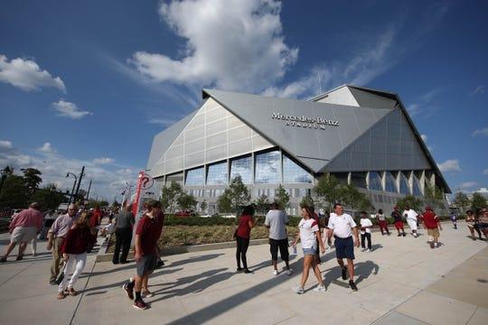 Sep 2, 2017; Atlanta, GA, USA;  A general view of Mercedes-Benz Stadium prior to the 2017 Kickoff Game between the Alabama Crimson Tide and the Florida State Seminoles. Mandatory Credit: Jason Getz-USA TODAY Sports