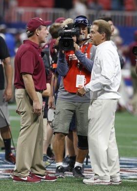 Sep 2, 2017; Atlanta, GA, USA;  Alabama Crimson Tide head coach Nick Saban (right) talks with Florida State Seminoles head coach Jimbo Fisher (left) prior to the 2017 Kickoff Game  at Mercedes-Benz Stadium. Mandatory Credit: Brett Davis-USA TODAY Sports