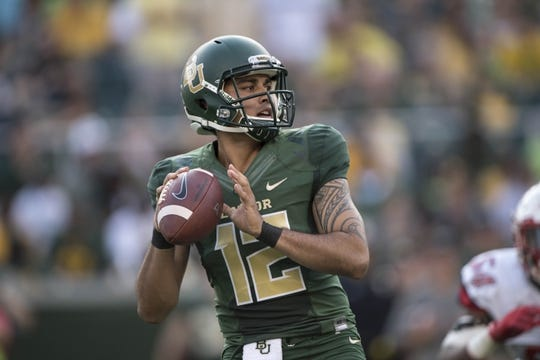 Sep 2, 2017; Waco, TX, USA; Baylor Bears quarterback Anu Solomon (12) drops back to pass against the Liberty Flames during the first quarter at McLane Stadium. Mandatory Credit: Jerome Miron-USA TODAY Sports