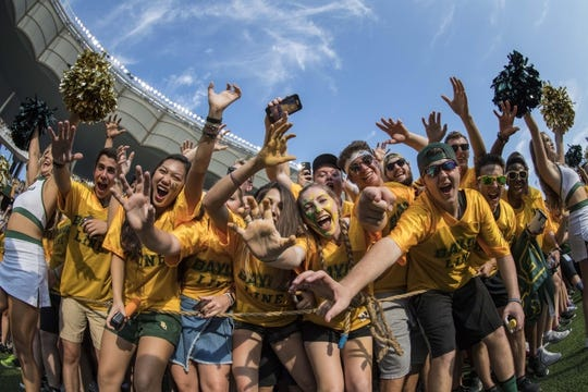 Sep 2, 2017; Waco, TX, USA; The Baylor Bears students cheer for their team during the game between the Bears and the Liberty Flames at McLane Stadium. Mandatory Credit: Jerome Miron-USA TODAY Sports