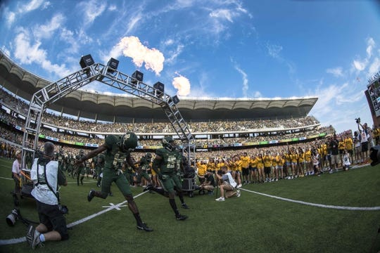 Sep 2, 2017; Waco, TX, USA; The Baylor Bears take the field to face the Liberty Flames at McLane Stadium. Mandatory Credit: Jerome Miron-USA TODAY Sports