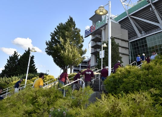 Sep 3, 2017; Landover, MD, USA; Fans enter FedEx Field prior to a game between the Virginia Tech Hokies and the West Virginia Mountaineers. Mandatory Credit: Derik Hamilton-USA TODAY Sports