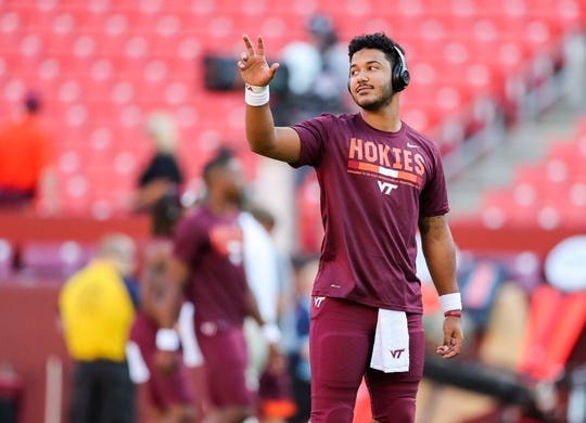 Sep 3, 2017; Landover, MD, USA; Virginia Tech Hokies quarterback Josh Jackson (17) warms up before his game against the West Virginia Mountaineers at FedEx Field. Mandatory Credit: Ben Queen-USA TODAY Sports
