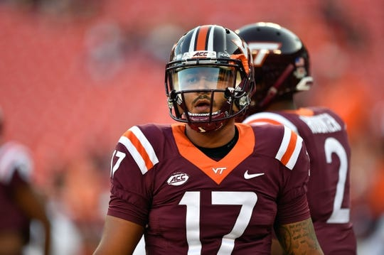 Sep 3, 2017; Landover, MD, USA; Virginia Tech Hokies quarterback Josh Jackson (17) warms up prior to a game against the West Virginia Mountaineers at FedEx Field. Mandatory Credit: Derik Hamilton-USA TODAY Sports