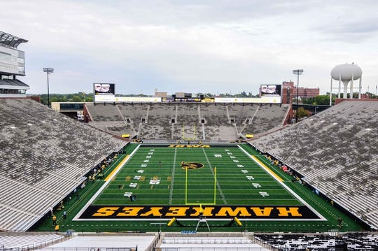 Sep 2, 2017; Iowa City, IA, USA; A general view Kinnick Stadium before the game between the Iowa Hawkeyes and the Wyoming Cowboys. Mandatory Credit: Jeffrey Becker-USA TODAY Sports