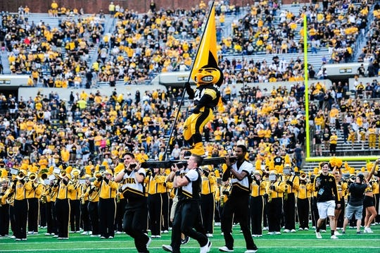 Sep 2, 2017; Iowa City, IA, USA; Herky the Hawkeye mascot is carried onto the field before the game between the Iowa Hawkeyes and the Wyoming Cowboys at Kinnick Stadium. Mandatory Credit: Jeffrey Becker-USA TODAY Sports