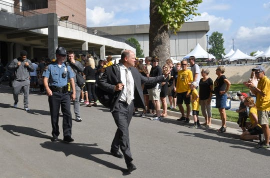 Sep 9, 2017; Columbia, MO, USA; Missouri Tigers head coach Barry Odom walks into the stadium during the traditional Tiger Walk before the game against the South Carolina Gamecocks at Faurot Field. Mandatory Credit: Denny Medley-USA TODAY Sports