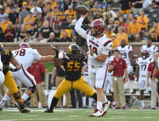 Sep 9, 2017; Columbia, MO, USA; South Carolina Gamecocks quarterback Jake Bentley (19) throws a pass during the first half against the Missouri Tigers at Faurot Field. Mandatory Credit: Denny Medley-USA TODAY Sports