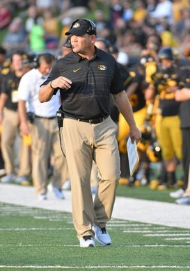 Sep 9, 2017; Columbia, MO, USA; Missouri Tigers head coach Barry Odom watches play on the sidelines during the first half against the South Carolina Gamecocks at Faurot Field. Mandatory Credit: Denny Medley-USA TODAY Sports
