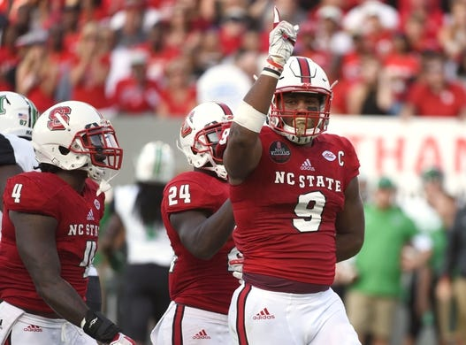 Sep 9, 2017; Raleigh, NC, USA; North Carolina State Wolfpack defensive end Bradley Chubb (9) reacts to a tackle during the first half against the Marshall Thundering Herd at Carter-Finley Stadium. Mandatory Credit: Rob Kinnan-USA TODAY Sports