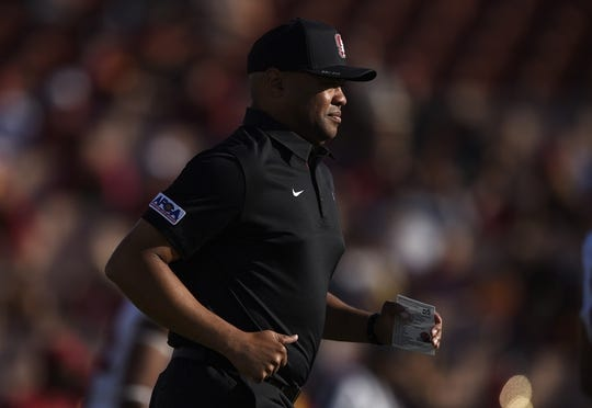 Sep 9, 2017; Los Angeles, CA, USA; Stanford Cardinal head coach David Shaw runs on the field prior to the game against the Southern California Trojans at Los Angeles Memorial Coliseum. Mandatory Credit: Kelvin Kuo-USA TODAY Sports