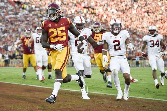 Sep 9, 2017; Los Angeles, CA, USA; Southern California Trojans running back Ronald Jones II (25) celebrates after running in a touchdown against the Stanford Cardinal during the first quarter at Los Angeles Memorial Coliseum. Mandatory Credit: Kelvin Kuo-USA TODAY Sports