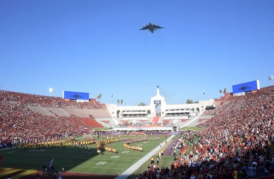 Sep 9, 2017; Los Angeles, CA, USA; General overall view of a flyover during the playing of the national anthem before a NCAA football game between the Stanford Cardinal and the Southern California Trojans at Los Angeles Memorial Coliseum. Mandatory Credit: Kirby Lee-USA TODAY Sports