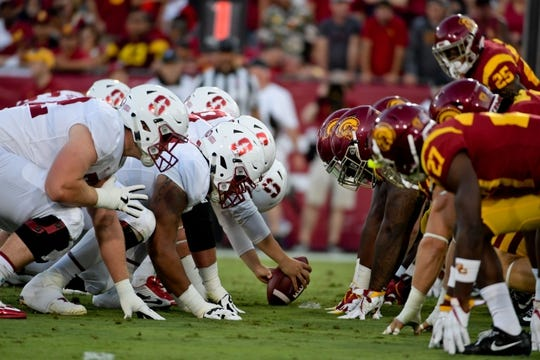 Sep 9, 2017; Los Angeles, CA, USA; Stanford Cardinal lines up against the USC Trojans during a NCAA football game at Los Angeles Memorial Coliseum. Mandatory Credit: Kirby Lee-USA TODAY Sports