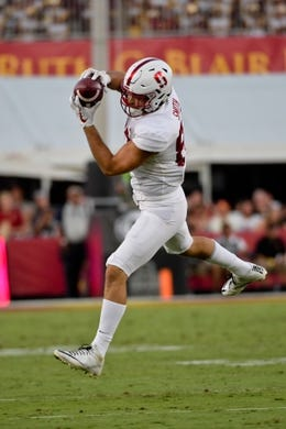 Sep 9, 2017; Los Angeles, CA, USA; Stanford Cardinal tight end Kaden Smith (82) catches a pass against the USC Trojans during a NCAA football game at Los Angeles Memorial Coliseum. Mandatory Credit: Kirby Lee-USA TODAY Sports
