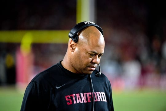 Sep 9, 2017; Los Angeles, CA, USA; Stanford Cardinal head coach David Shaw during a NCAA football game against the USC Trojans at Los Angeles Memorial Coliseum. Mandatory Credit: Kirby Lee-USA TODAY Sports