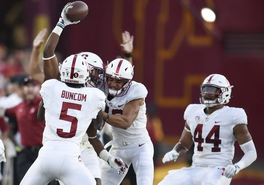 Sep 9, 2017; Los Angeles, CA, USA; Stanford Cardinal safety Ben Edwards (9) reacts after intercepting the ball against the Southern California Trojans during the second quarter at Los Angeles Memorial Coliseum. Mandatory Credit: Kelvin Kuo-USA TODAY Sports