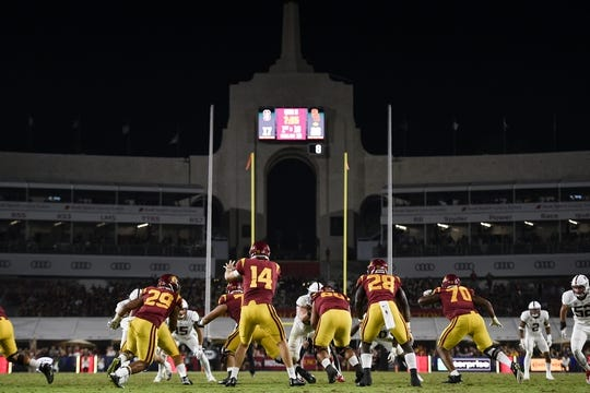 Sep 9, 2017; Los Angeles, CA, USA; Southern California Trojans quarterback Sam Darnold (14) receives the snap against the Stanford Cardinal during the third quarter at Los Angeles Memorial Coliseum. Mandatory Credit: Kelvin Kuo-USA TODAY Sports